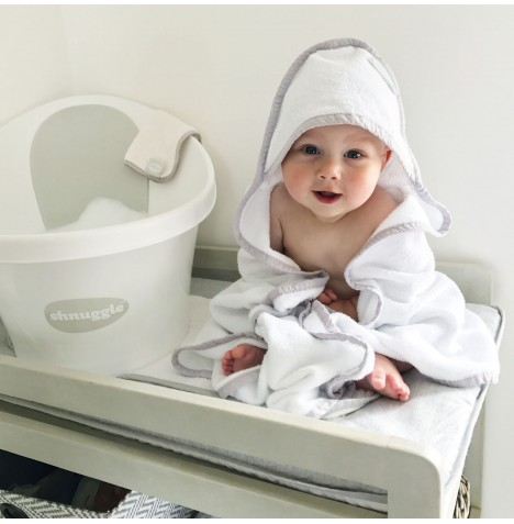 Shnuggle Hooded Wrap Towel - White